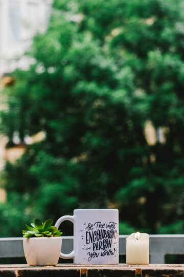 shallow focus photography of white mug and succulent plant on table